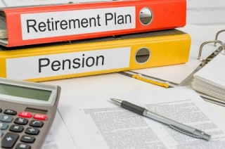 25273207 - folders with the label retirement plan and pension