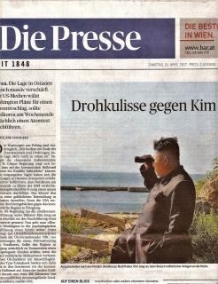 ▲朝鮮半島の危機を一面トップで報じるオーストリア代表紙プレッセ