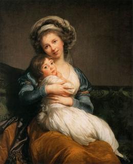 ▲娘を抱える画家ルブランの自画像(ルブランはわずかに口を開き、歯を見せている)