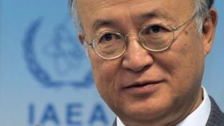 ▲イラン核合意について報告するIAEAの天野之弥事務局長(IAEA公式サイトから)
