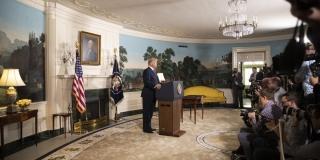▲イラン核合意離脱を表明したトランプ米大統領(2018年5月8日、ホワイトハウスの公式サイトから)