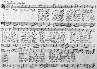 ▲「きよしこの夜」の作曲者フランツ・クサーヴァー・グルーバーの自筆楽譜(ウィキぺディアから)
