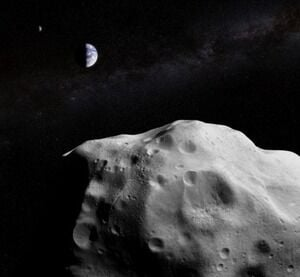 ▲地球に接近する小惑星(欧州宇宙機関=ESA公式サイトから)