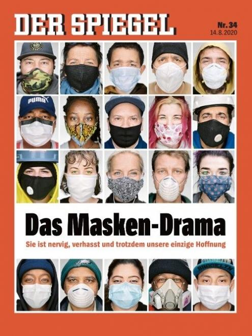 ▲独週刊誌シュピーゲルの最新号の表紙「マスクドラマ」