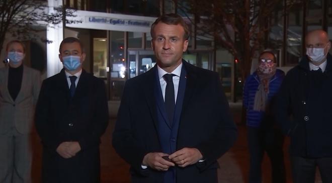 ▲テロ現場を視察したマクロン大統領(2020年10月16日、フランス大統領府(エリゼ宮殿)公式サイトから)