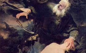 ▲レンブラントの1634年の作「アブラハムとイサク」(ウィキぺディアから)
